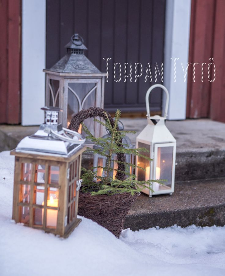 Lanterns outside my cottage door.