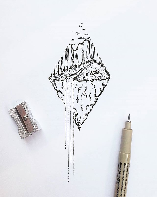 Waterfall Nature Dotwork tattoo idea – #desenho #D…