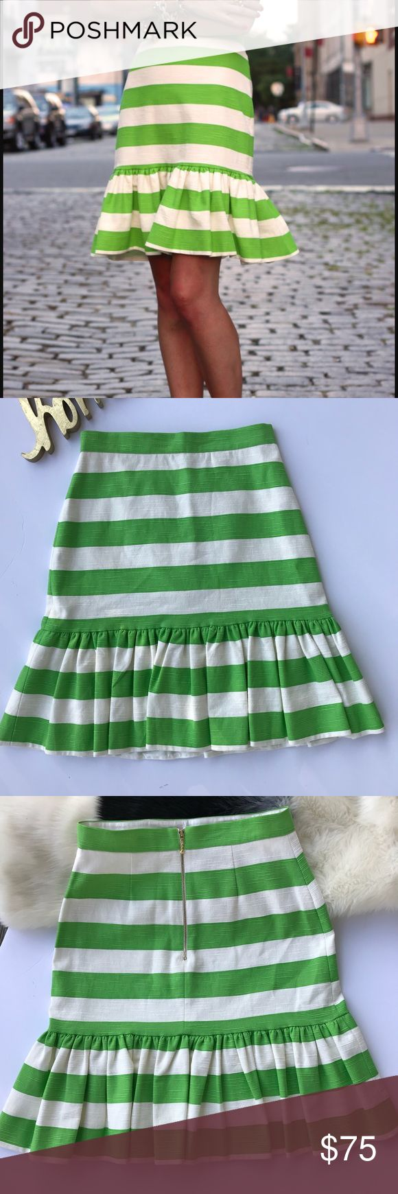 "Kate Spade Senorita Trumpet Flounce Skirt Kate Spade Green & White Striped Skirt. Trumpet Silhouette. Knee Length. Flounce Hemline. Exposed Gold Back Zipper. Fully Lined. Materials: Body 100% Cotton. Lining: 100% Polyester. Approximate Measurements: Length 23"" Inches.  Waist: 28"" Inches. Hips: 35"" Inches. Excellent Condition. kate spade Skirts"