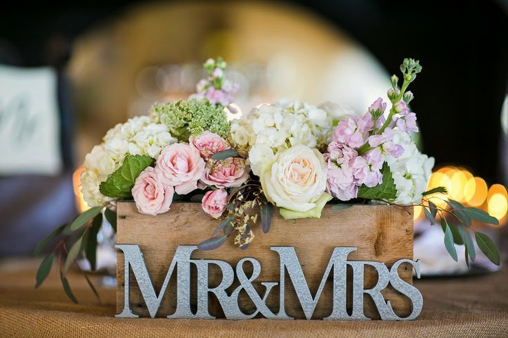 Idea for reception stage - flowers in wooden box wedding centerpiece with mr and mrs - Deer Pearl Flowers