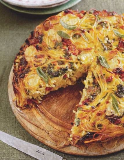 Spaghettitaart van Jamie Oliver  a spaghetti squash versions of this might be awesome!