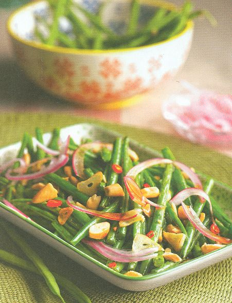 Judías verdes salteadas con almendras (206 Kcal)