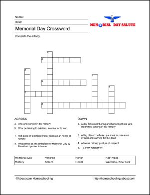 Memorial Day Wordsearch, Crossword Puzzle, and More: Memorial Day Crossword Puzzle