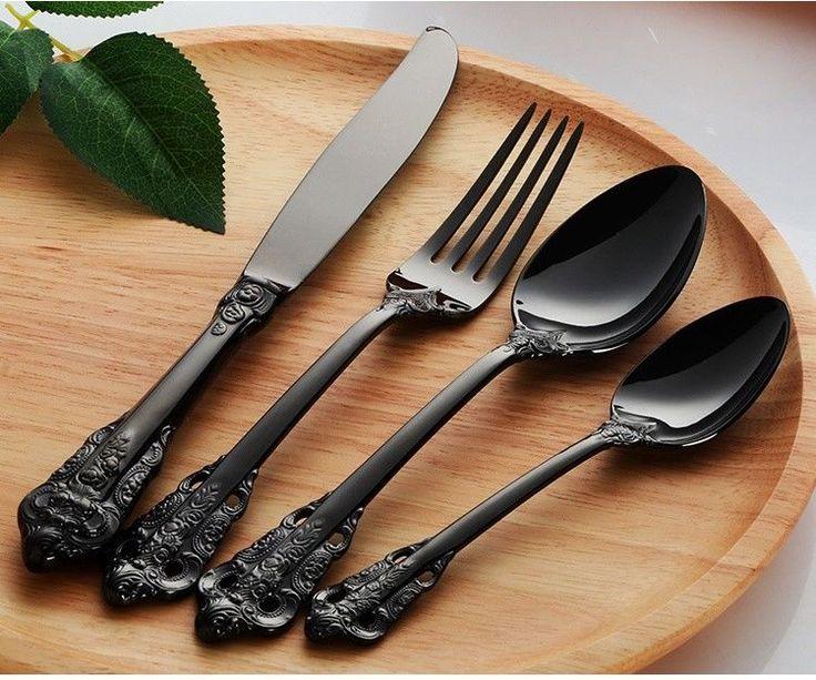24-Piece Vintage Black Stainless Steel Flatware Set For 6 Persons    eBay