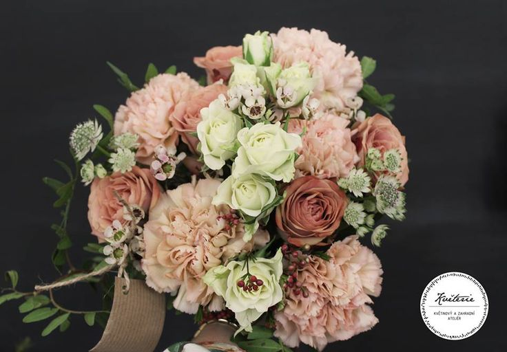 apricot - salmon bouquet, cappuccino roses, dianthus