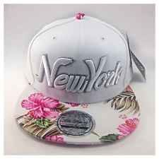 White Unisex New York Flowers Snapback Baseball Cap - Floral Flat Peak Hat