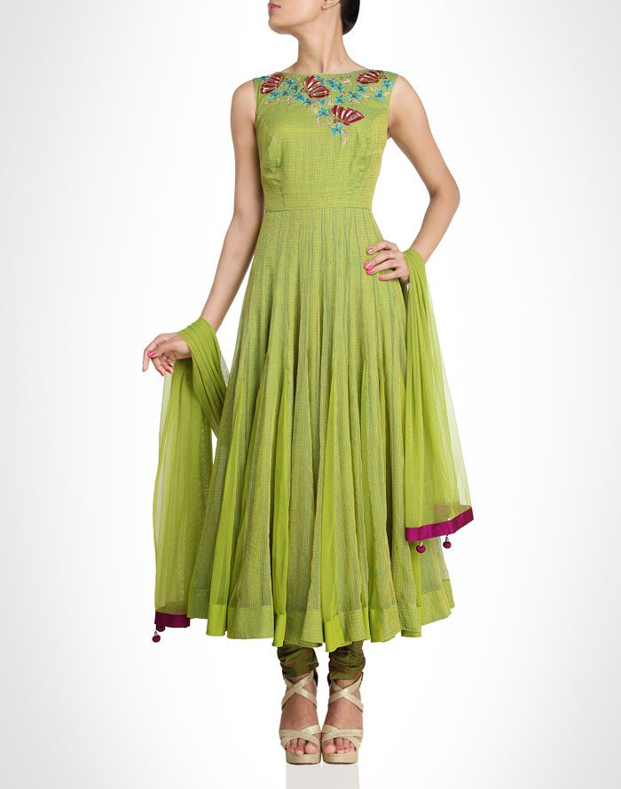 Green anarkali is enriched with overall miniature gingham checks. Shop Now: www.kimaya.in