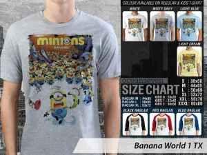 Kaos Film Minions Banana World, Kaos Minions Banana World, Kaos Minions Scarlet Overkill, Kaos Film Minions Anak-anak