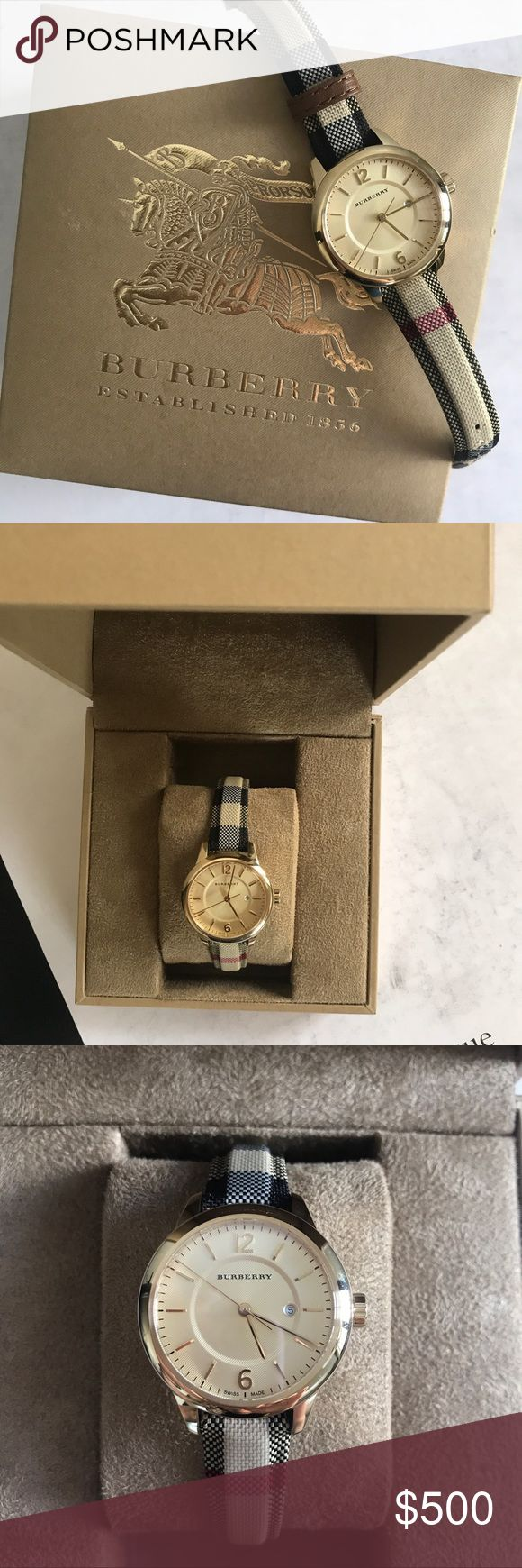 """BURBERRY Honey Check Ladies Watch Only worn once, reasonable offers only.  This design of rich, radiant goldtone stainless steel centers upon a fabric strap in Burberry's signature check, for a timepiece imbued with the heritage appeal of brand that's synonymous with sophistication. Swiss quartz movement Water resistant to 5 ATM Round polished light goldtone ion-plated stainless steel case, 32mm (1.25"""") Polished bezel Sapphire crystal Twill honey dial Applied numeral and bar hour markers…"""