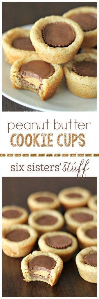 Peanut Butter Cookie Cups from http://SixSistersStuff.com   The perfect creamy, peanut buttery cookie. I love these for any party, dessert, or snack!