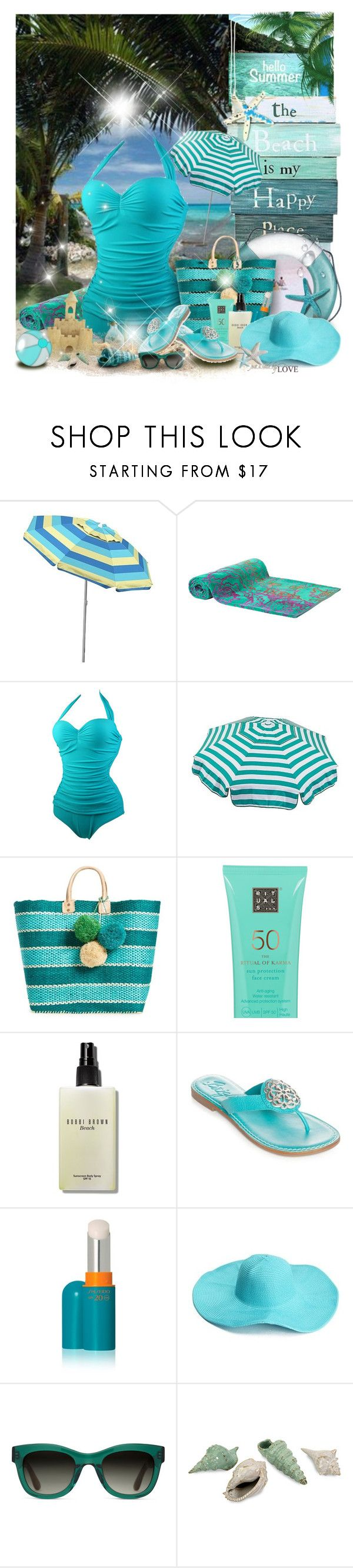 """The beach!👙"" by gianna-pellegrini ❤ liked on Polyvore featuring Caribbean Joe, Elaiva, Parasol, Mar y Sol, Bobbi Brown Cosmetics, Brighton, Shiseido and TOMS"