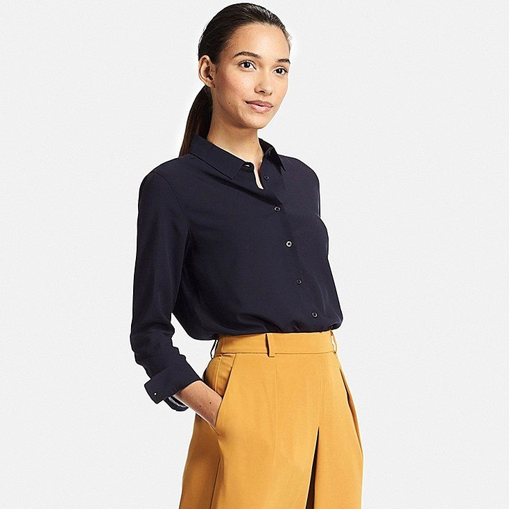 Uniqlo blouse - color, look of material, fit  Overall outfit - color combination and styling
