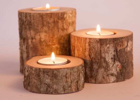 Wood candle holders  Set of 9 (3 differents sizes 3 times)   These candle holders create the perfect rustic decor for your wedding, party, or