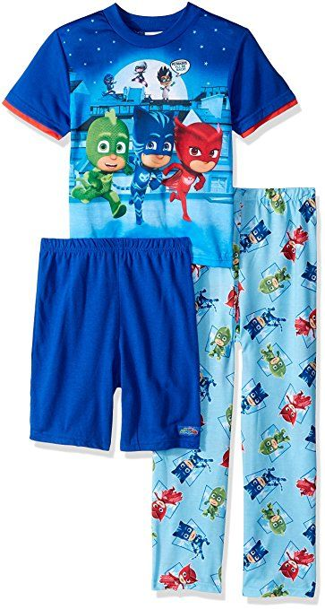 4455f4a6ac09 Cozy up in this extra comfy PJ Masks 3-piece pajama set The bright colors
