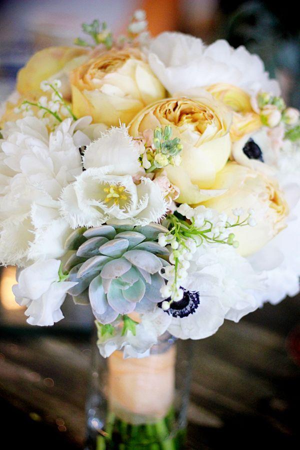 peach pale wedding bouquet white peonies ranunculus carmel antike garden roses lily of the valley manhattan beach florist succulents