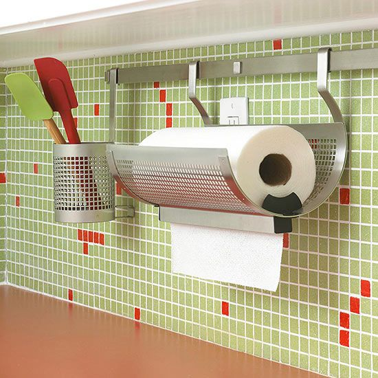 I love this kitchen wall storage idea!  This paper towel holder is really cool.
