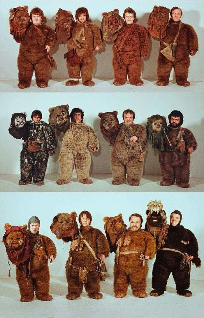 The Ewoks unmasked! Pictured: some of the actors who played the furry bipeds in STAR WARS: Episode VI - Return of the Jedi (1983). Phil Tippett and Stuart Freeborn have been in charge of the makeup and creatures in the movie.