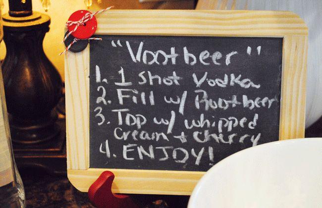 Vootbeer Floats  Need:   - Vodka   - Root Beer   - Diet Root Beer   - Cherries   - Whipped Cream   - Cups
