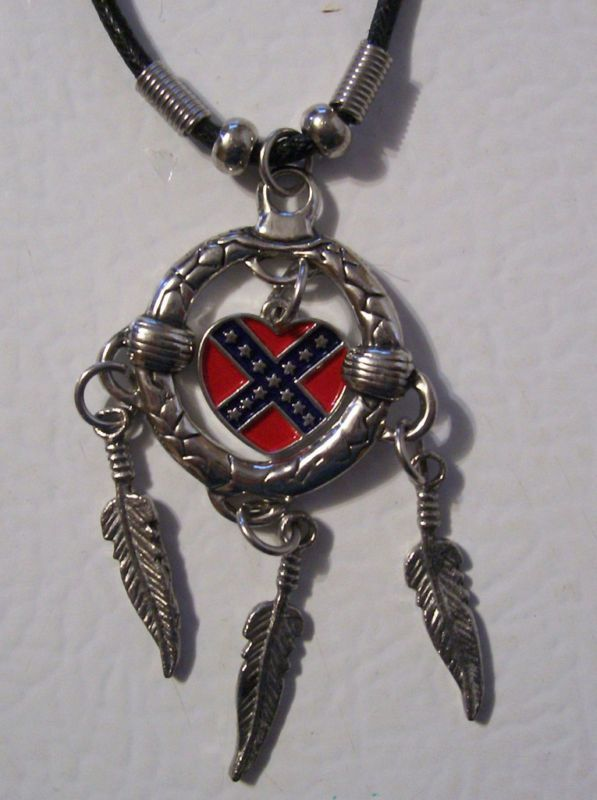 Rebel Flag Heart and Feathers Necklace New HM130