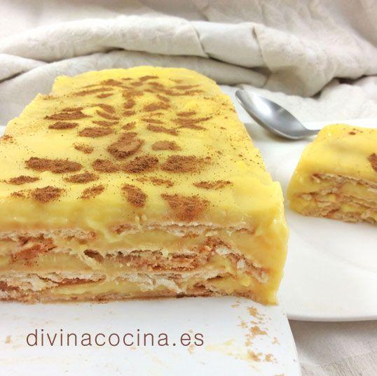 Pastel de flan con galletas de canela - Divina Cocina
