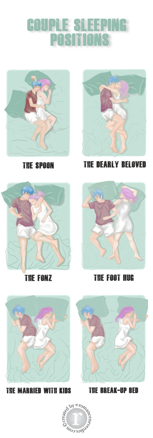 "Couple Sleeping Positions... This is funny because I've done each one of these with my boyfriend. :"")"