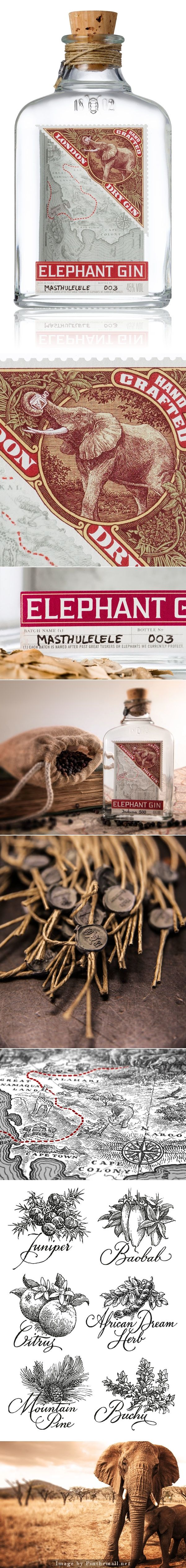 Elephant Gin | handcrafted London Dry #Gin #packaging inspired by the pioneering spirit of early explorers of Africa. | by simon frouws | Behance PD