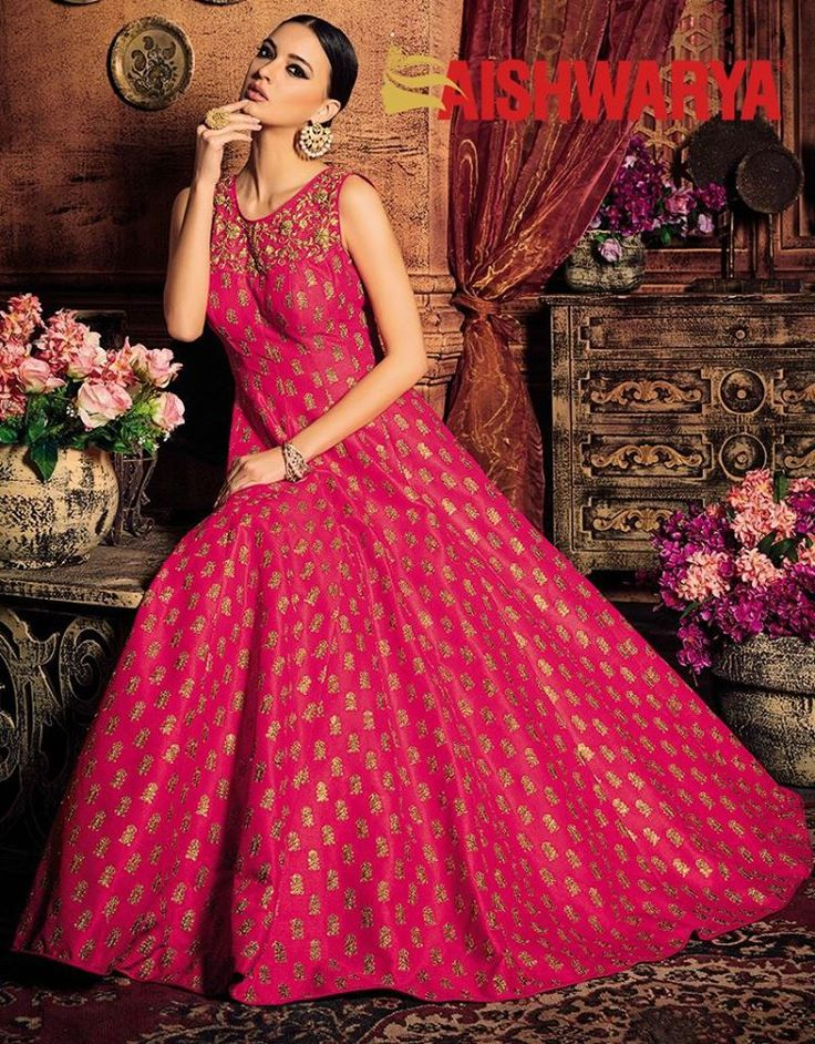 Make your fairy tale wedding come to life with this dreamy pink gown. Buy designer gown online - http://www.aishwaryadesignstudio.com/genteel-pink-party-gown-with-zari-motifs