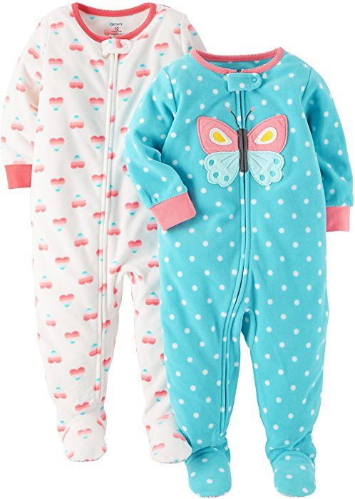 ad5577bab Amazon.com  Carter s Baby Girls  Toddler 2-Pack Fleece Pajamas ...