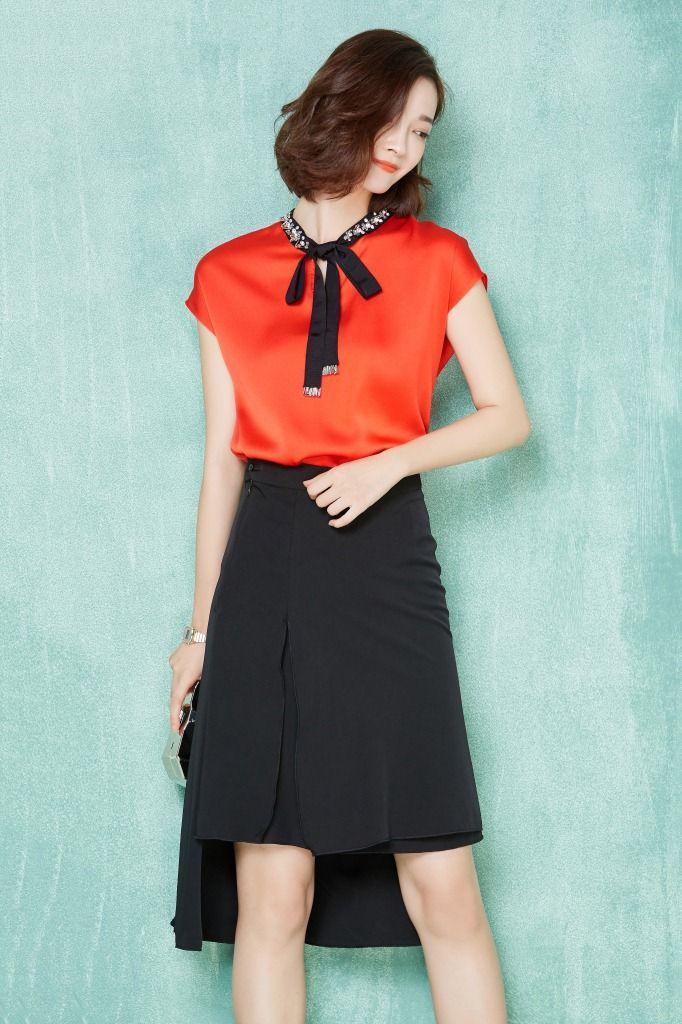 2016 verão mulheres chiffon de seda do pescoço blusa manga curta blusa senhora escritório trabalho OL cetim mulheres top em Blusas de Moda e Acessórios no AliExpress.com   Alibaba Group