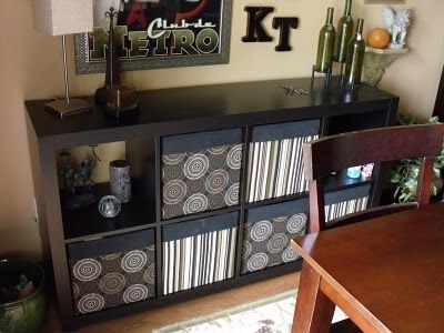 Expedit With Drona Boxes That Are Covered In Fabric I