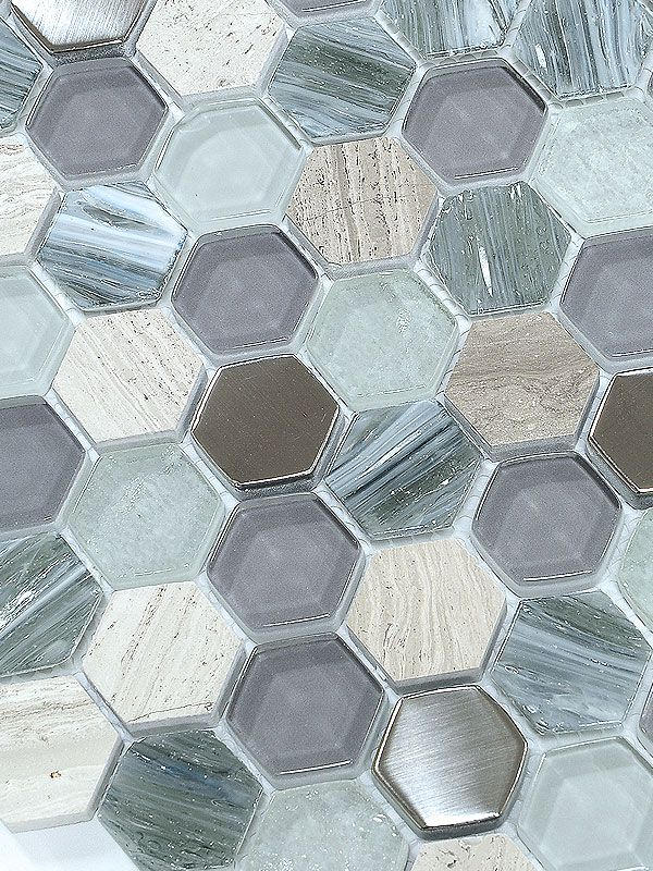Blue Gray Hexagon Glass Marble Mosaic Tile Dream Home In 2019