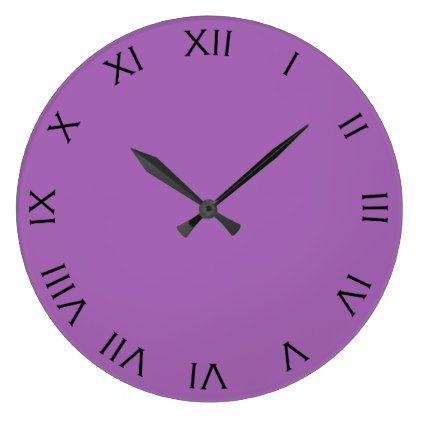 Black Roman Numbers On Purple Wall Clock - black gifts unique cool diy customize personalize