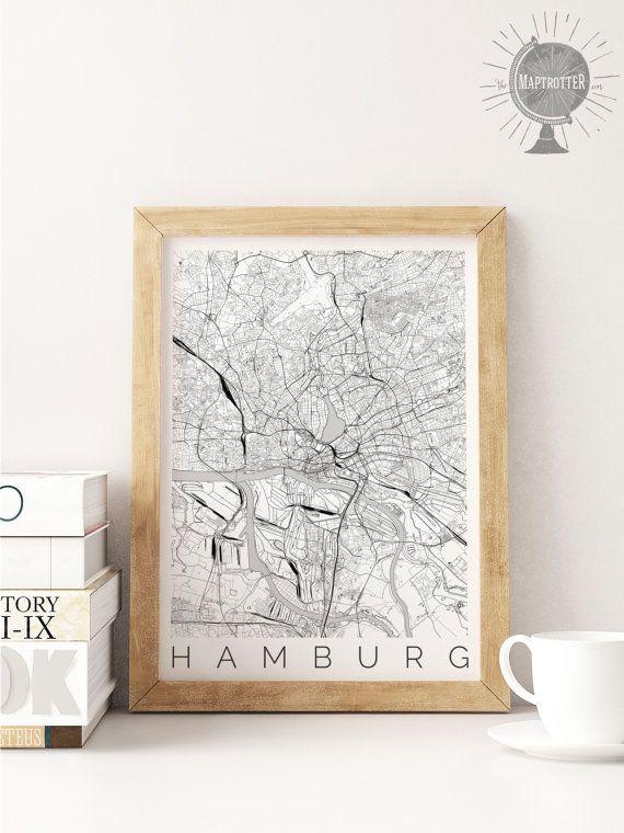 Karte von Hamburg Deutschland Hamburg Karte Kunst