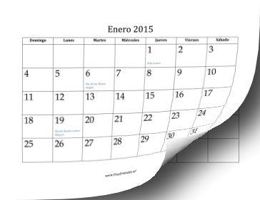 Calendario de 2015 (12 páginas) imprimir gratis