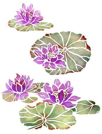 Water Lilies Stencil. Lotus Flower Stencil