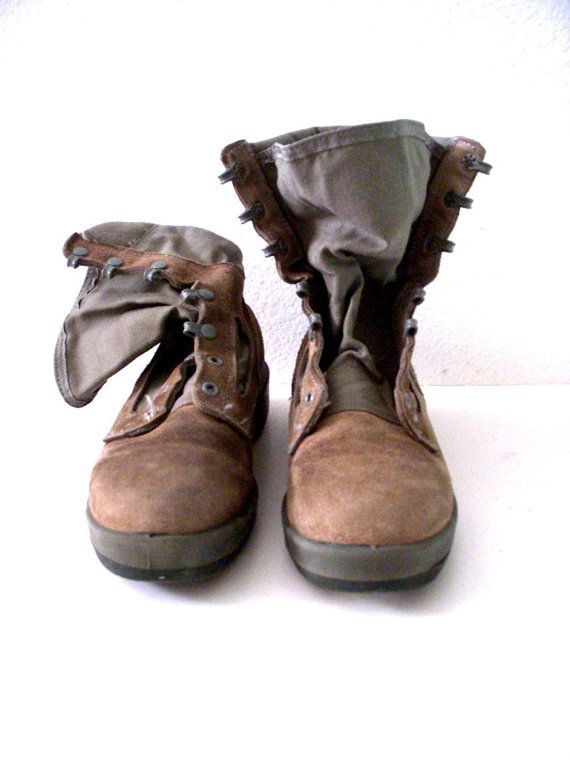 Vintage Brown Cowhide and Canvas Vibram Boots  by aVintageVagrant