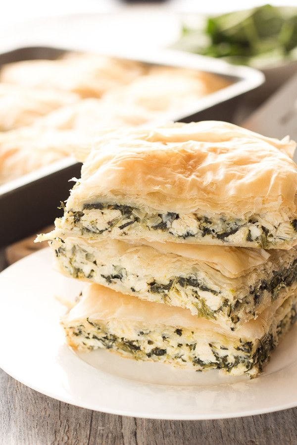 Easy greek chicken spinach bake 2 Tablespoons Olive Oil 1 Large White Onion, diced 4 Cloves Garlic, minced 2 (10 oz.) Boxes Frozen Spinach, defrosted and squeezed dry of water ½ lb. Feta Cheese, crumbled 1½ Cups Grilled Chicken Breast, diced (about 1 large breast) 2 Eggs ½ Cup Parmesan Cheese, grated 1 Teaspoon Pepper 1 Teaspoon Dried Oregano 18 Phyllo Dough Sheets, defrosted ½ Cup Butter