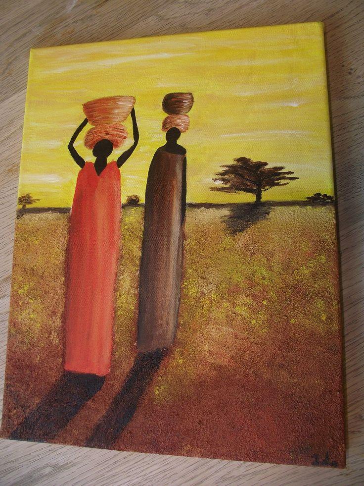 Afrikaanse vrouwen,  acrylverf op doek, achtergrond met zand vermengd geschilderd in warme tinten