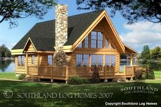 The Rockbridge - 1722 Sq. Ft. by Southland Log Homes  Large gable-end windows on the Rockbridge showcase scenic views, while the heavy timber roof (standard on this floor plan) showcases the beauty of your logs.  See plan at: http://www.logcabindirectory.com/loghome_floorplans/southland/SouthlandLogHomes_Rockbridge_floorplan.html