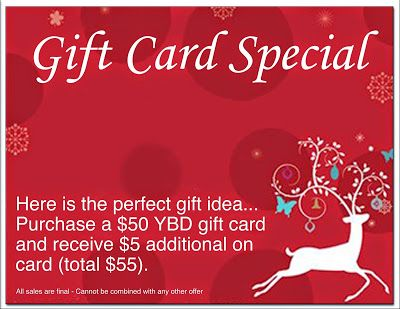 Gift Card Special Now thru December 24, 2014  Stop by Yarns By Design for the perfect gift… Purchase a $50 gift card and receive $5 additional on card (total $55).