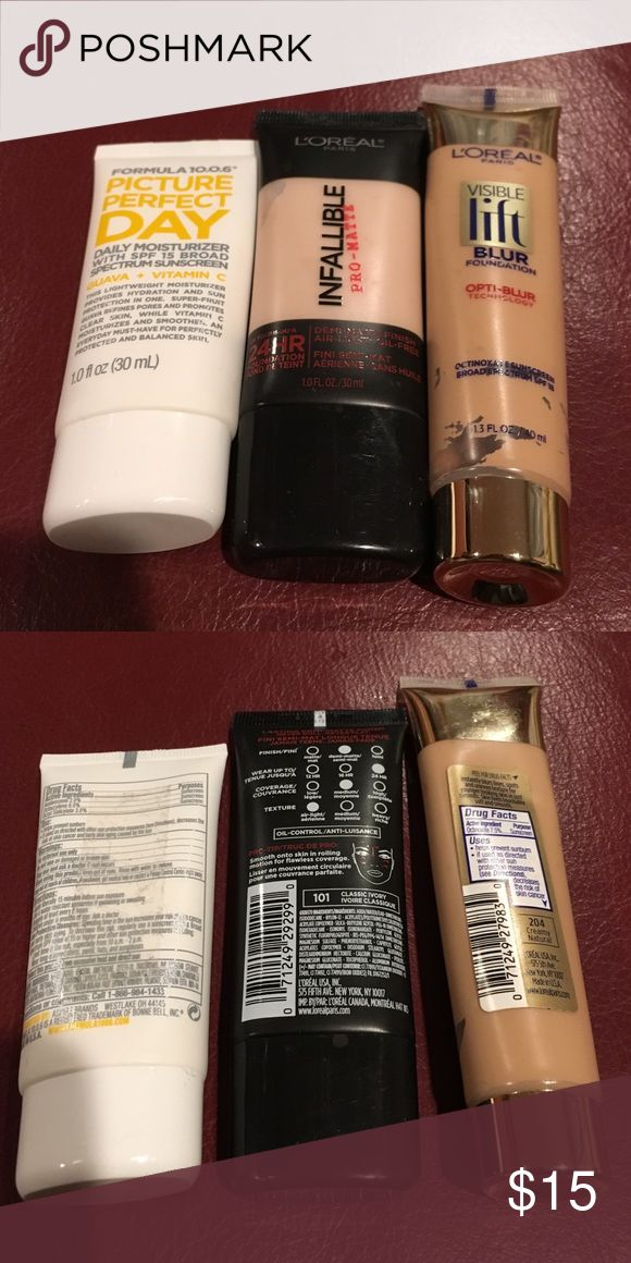 L'Oréal Bundle L'Oréal infallible 24HR foundation in classic ivory # 101 , L'Oréal Visible Lift Blur Foundation Creamy Natural #204 and Formula 10.0.6 picture perfect day daily moisturizer: all 3 only tried on like new L'Oreal Makeup