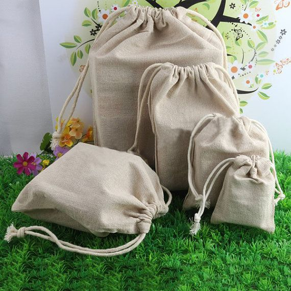 20 pcs Linen Drawstring Gift Bags by GoodChoiceSupplies on Etsy