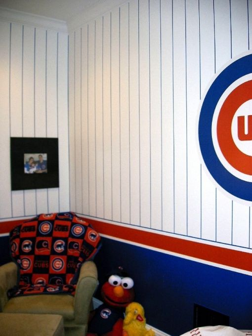 Perfect GO CUBS!, A Wrigley Field Inspired Bedroom. Three Pinstriped Walls And The  4th Nice Look