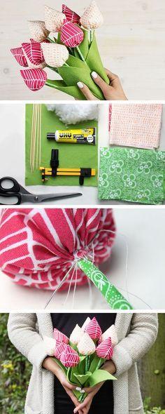 Un bouquet che non sfiorisce mai: realizzalo con ritagli di stoffa colorata e il nostro tutorial - http://it.dawanda.com/tutorial-fai-da-te/cucire/come-fare-bouquet-stoffa