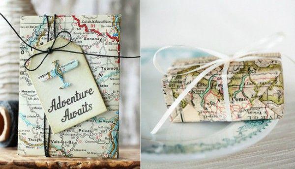 Подарки на Новый год, обернутые в карты. Для любителей путешествий
