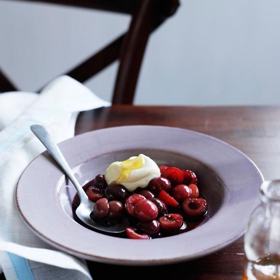 #Cherries Poached in #Red #Wine with Mascarpone Cream