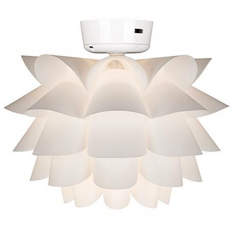 Add Light To Ceiling Fan: Add an organic look to your ceiling fan with this flower-shaped, modern  light kit. White finish. Requires add on wall or hand-held controls (not  included).,Lighting