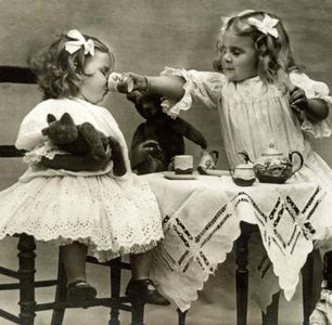 tea party...this is way before the time my brother and I did it though, and we didn't invite any stuffed animals...I don't think we even had stuffed animals at that point, cause the dogs had chewed them up...but a bat showed up once and Mom had to chase it out with a broom...