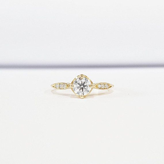 884bd77efaca5 Moissanite and diamond solitaire engagement ring handmade in rose ...