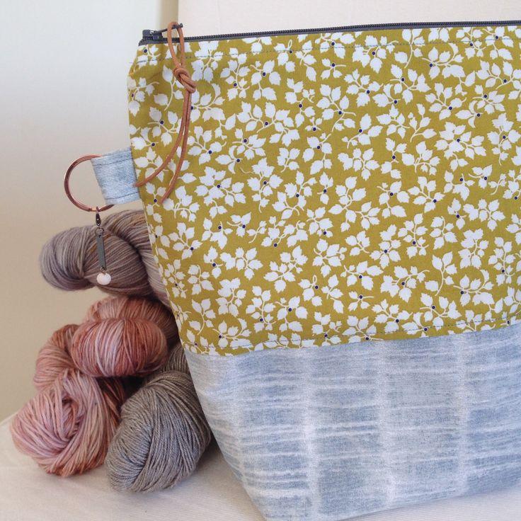 Knitting Bag. Project Bag. Zipper Bag. Knitting Project. Large Pale Blue & Lime Travel Knitters Gift Toiletry Bag Strikkebag by bedofroses on Etsy https://www.etsy.com/no-en/listing/604294373/knitting-bag-project-bag-zipper-bag